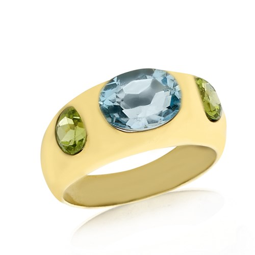 18K Blue Topaz & Peridot Dome Ring