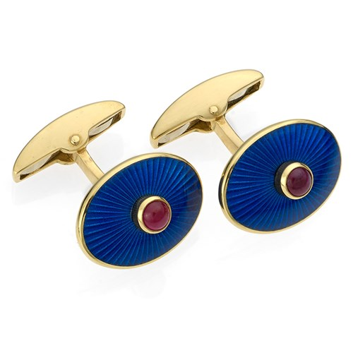 18k Gold Oval Cufflinks with Navy Enamel and Ruby