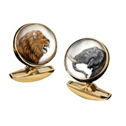 18k Yellow Gold Rock Crystal Elephant & Lion Cufflinks