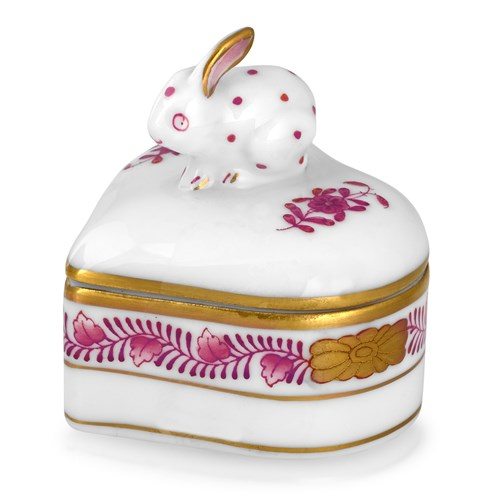 Chinese Bouquet Heart Bunny Box, Raspberry