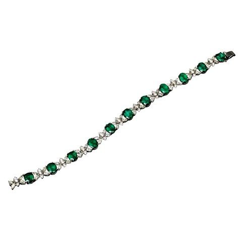 18k White Gold Emerald & Diamond Bracelet
