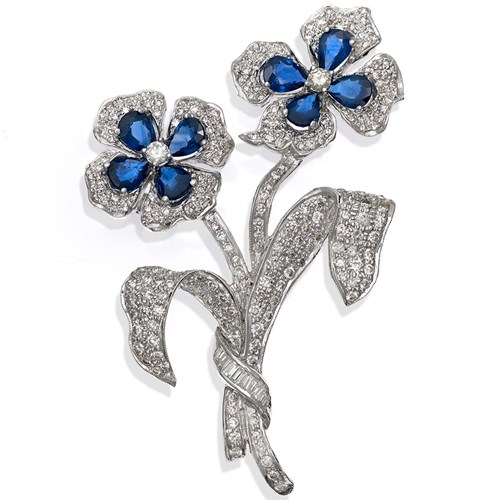 18k White Gold Diamond Sapphire Flower Pin, Two Flowers
