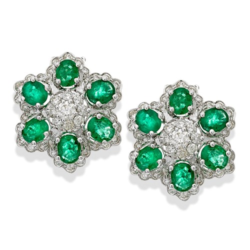 18k White Gold Emerald & Diamond Flower Earrings, Clips