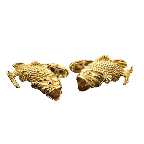 18k Gold Black Bass Cufflinks Ruby Eyes