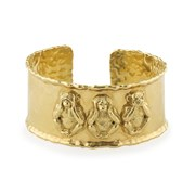 18k Yellow Gold See/Hear/Speak No Evil Monkey Cuff Bracelet