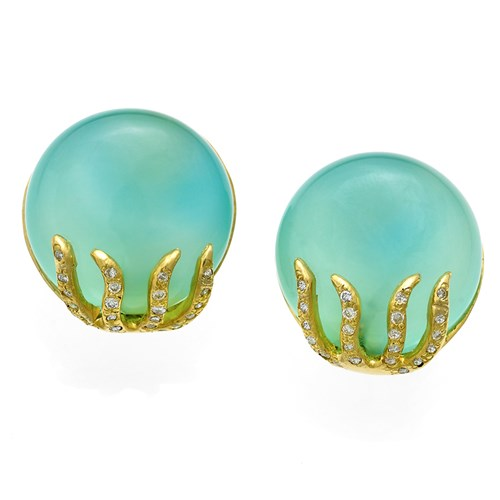 18k Gold Blue-Green Chalcedony Earrings with Diamonds