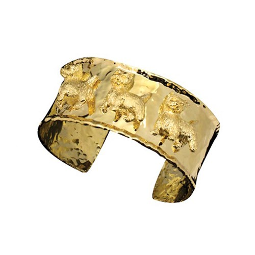 18k Yellow Gold Three Westies Cuff Bracelet