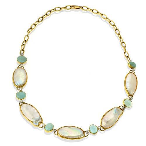 18k Gold Freshwater Pearl & Aquamarine Diamond Necklace
