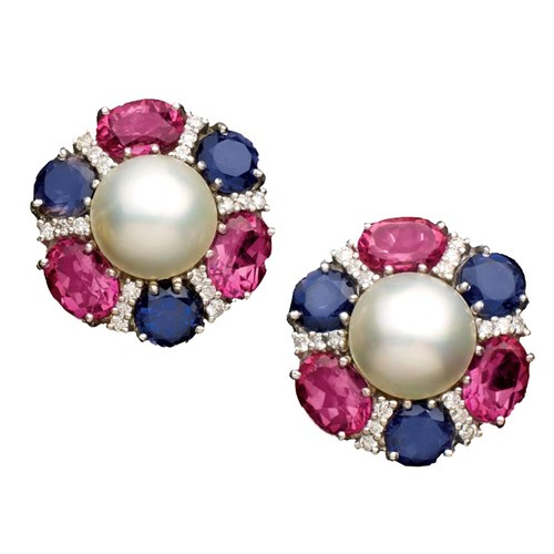 Pink Topaz Iolite Mabe Pearl Ear Clips