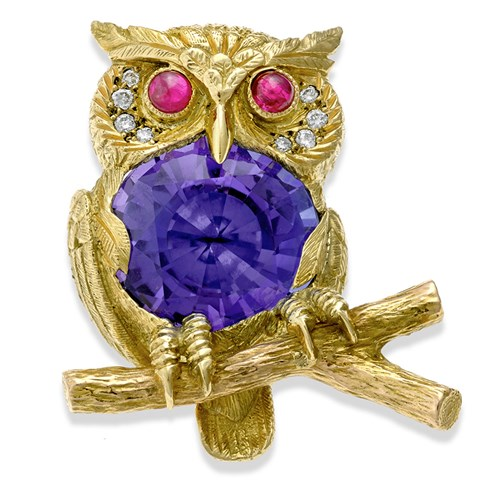 18k Gold Owl Pin with Tanzanite Center, Diamonds and Ruby Eyes