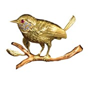 18k Yellow Gold Wren on Rose Gold Branch Pin