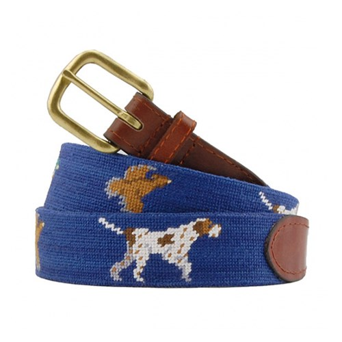 Size 28 Bird Dog Needlepoint Belt