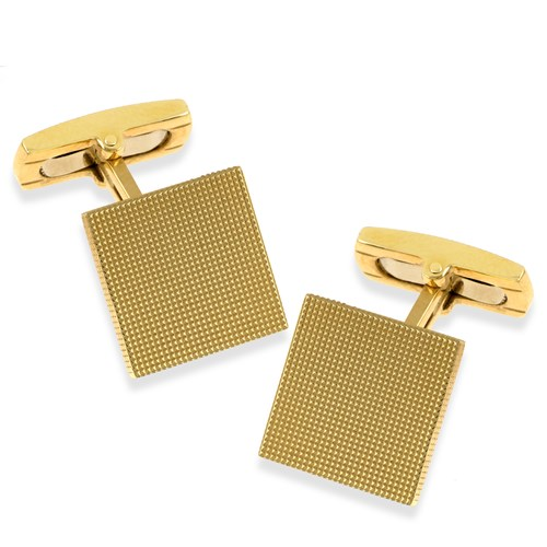 18k Gold Square Hobnail Cufflinks