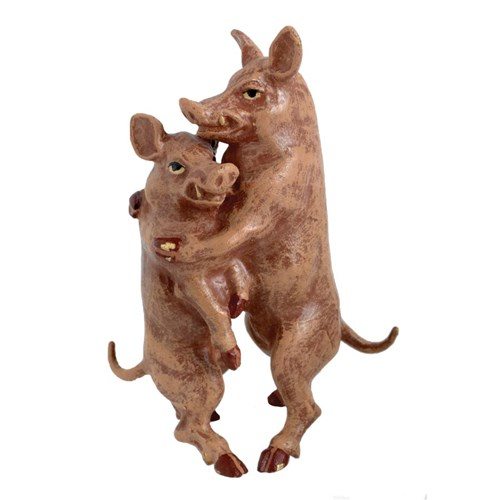Austrian Bronze Pigs Embracing Figurine
