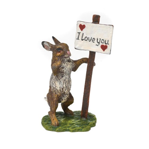 Austrian Bronze Rabbit with I Love You Sign
