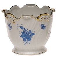 Herend Chinese Bouquet Blue Ribbed Cachepot