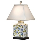 Blue Flowers & Green Vine Rectangular Jar Lamp