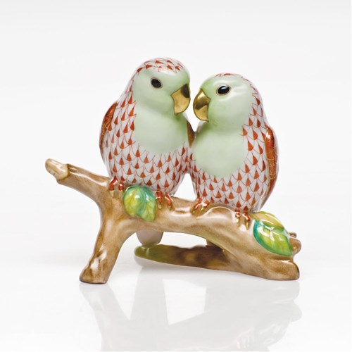 Lovebirds on Branch Rust