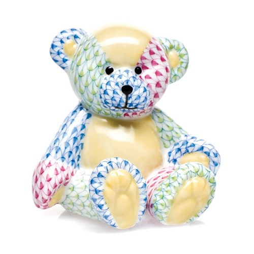 Herend Small Teddy Bear, Patchwork