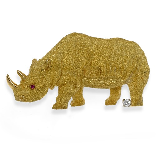 18k Yellow Gold Rhinocerous Pin