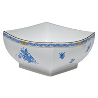 Herend Chinese Bouquet Blue Square Bowl, Medium