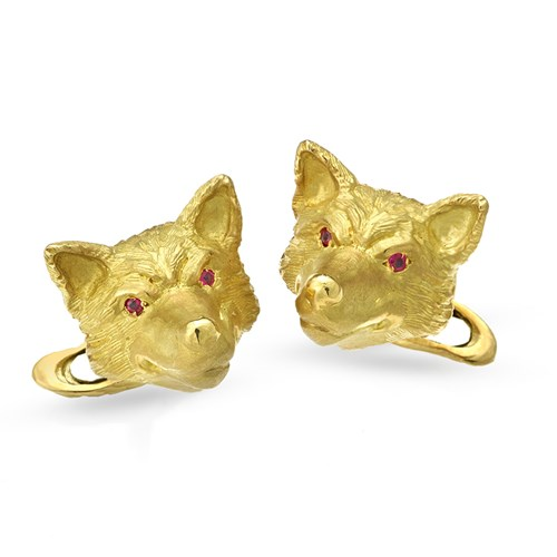 18k Gold Fox Cufflinks with Ruby Eyes