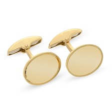 18k Yellow Gold Plain Oval Engraved Cufflinks