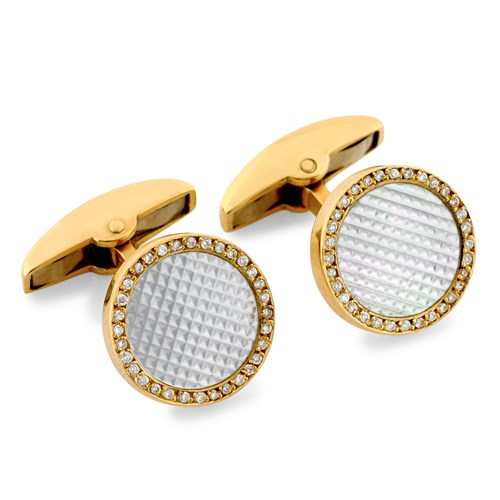 18k Gold Textured Mother of Pearl Diamond Bordered Cufflinks