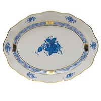 Herend Chinese Bouquet Blue Oval Dish, Small