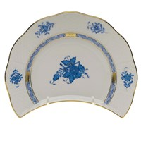 Herend Chinese Bouquet Blue Crescent Salad Plate