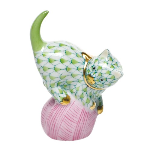 Mischievous Cat with Yarn Key Lime