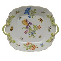 Herend Antique Iris Square Cake Plate with Handles