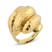 18k Gold Hammered Shell Ring