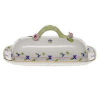 Herend Blue Garland Butter Dish with Branch Handle