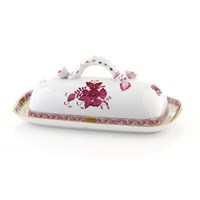 Herend Chinese Bouquet Raspberry Butter Dish with Branch