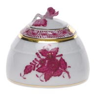 Herend Chinese Bouquet Raspberry Honey Pot with Rose