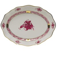 Herend Chinese Bouquet Raspberry Oval Dish, Small