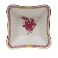 Herend Chinese Bouquet Raspberry Square Dish, Small