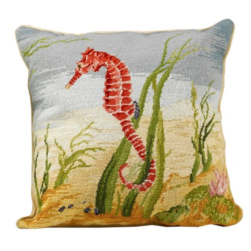 Shore Life Needlepoint Pillow, Sea Horse