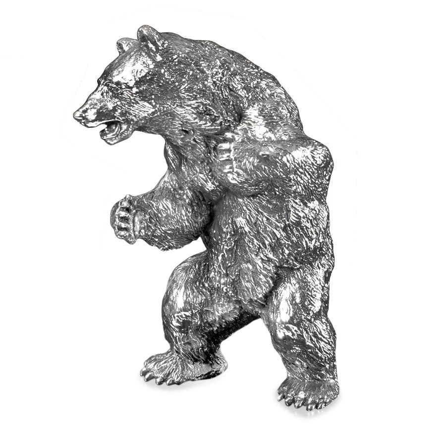 """One Pair /""""Grizzly Bear/"""" Fine Pewter Pierced  Earrings ~ Silver or Gold Plated"""