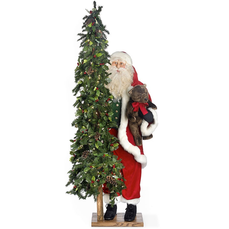 Lighted Christmas Tree.Simple Gifts Standing Santa Claus With Lighted Christmas Tree And Teddy Bear