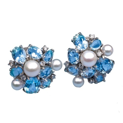 18k White Gold Blue Topaz Cluster Earrings with Pearls, Clips