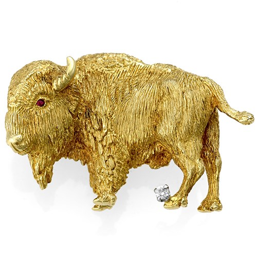 18k Yellow Gold Buffalo Pin