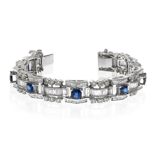 18k White Gold Cushion Sapphire & Diamond Bracelet