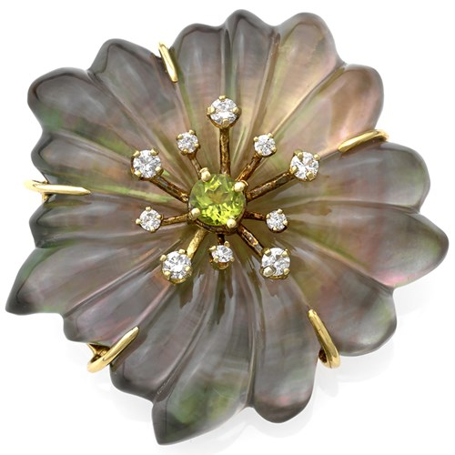 18k Yellow Gold Crystal Grey Mother of Pearl Flower Pin