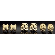 18K YG Oval Basketweave Earrings