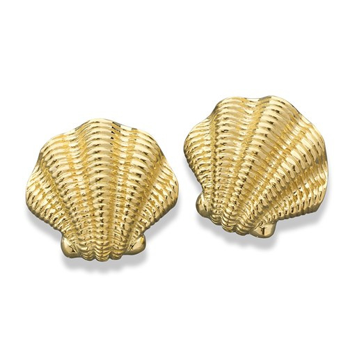 18K YG Ridged Scallop Shell Earrings