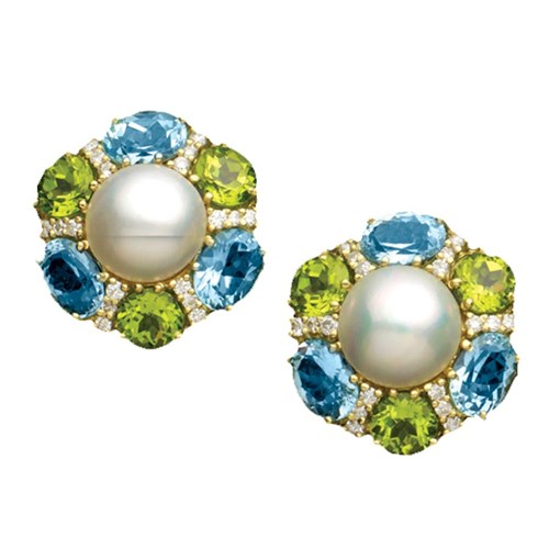 Blue Topaz Peridot Mabe Pearl Earrings