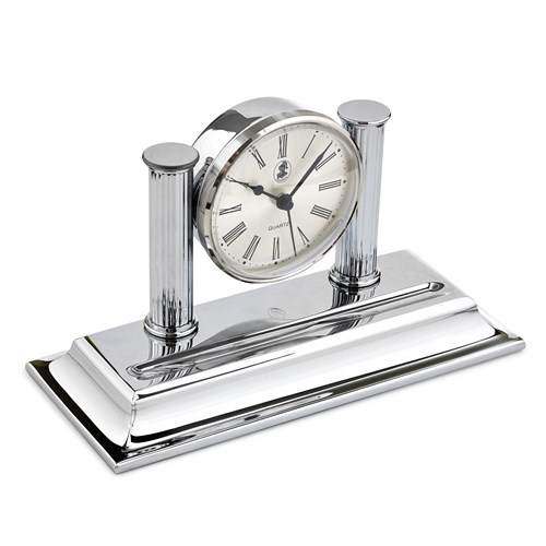 Chrome Plated Desk Clock with Tray