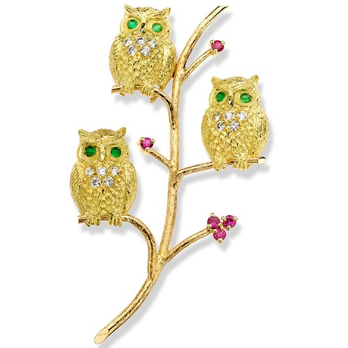 18k Gold Vertical Triple Owl Pin